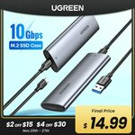 UGreen M.2 NVMe SSD USB 3.1 Gen 2 Enclosure US$19.79 (~A$27.25) Delivered @ UGreen Official Store AliExpress
