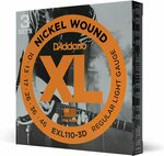 D'Addario EXL110-3D Nickel Wound Electric Guitar Strings, Regular Light, 10-46, 3 Sets Delivered for $19 ($6.33 a Set)