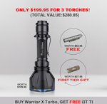 Buy One Warrior X Turbo Black (Worth $199.95), Get a Free I3T Ti (Worth $52.95) @ Olight