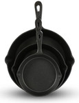 Cast Iron Pan Set X 3. 15/20/25cm $22 Delivered from 1-Day.com.au