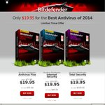 Bitdefender Antivirus Plus/Internet Security/Total Security - $19.95 (1 Year)