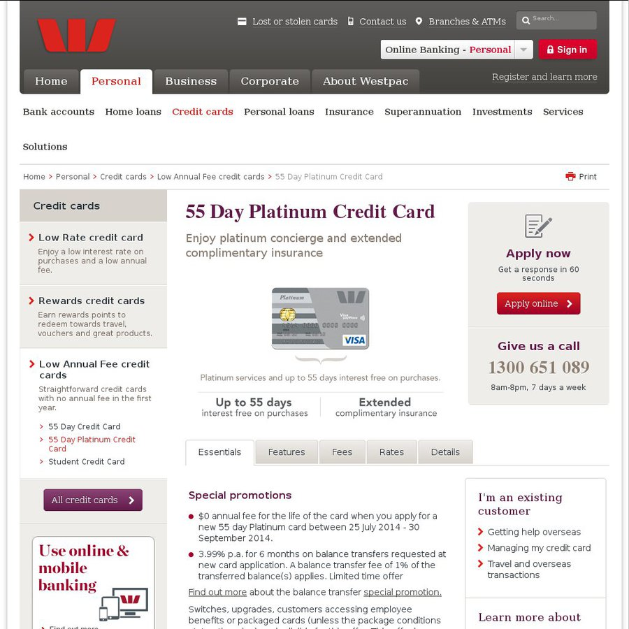 Lifetime $0 Annual Fee: Westpac 55 Day Platinum Credit Card (New ...