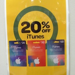 iTunes Gift Cards 20% off at Woolworths Haymarket NSW