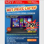 MSY - ASUS 15.6'' Laptop Now $296 | One Day Sale Only | Limit 1 Per Customer