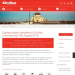 Free Skybus from St. Kilda <-> Melbourne Airport (Normally $19 O/W) Aug 14-Aug 20