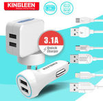 Kingleen Home Car Charger Adapter Micro USB Lightning Cable from $8.99 - $13.99 Delivered from Sydney @ MobileMall on eBay