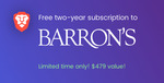 Free 2-Year Subscription to Barron's Financial Investing ($479 USD) & Dow Jones Market Watch ($198 USD)