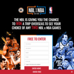 Win an NBA x NBL Experience of a Lifetime in the USA/Canada for 2 Worth Up to $16,500 from NBL