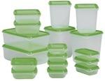 PRUTA Food Container, Set of 17, Transparent, Green $2.99 @ IKEA