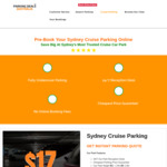 5% off Sydney Cruise Undercover Parking ($16.15) @ Parking Deals Australia