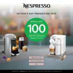 100 Bonus Coffee Pods with Purchase of Nespresso Machine. i.e. $99 Essenza Mini, Aeroccino3 and 114 Pods Delivered
