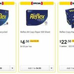 Reflex Ultra White & 50% Recycled A4 Copy Paper $4.50 for 500 Sheets Or $22.50/carton @ Coles