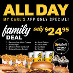 [QLD, NSW, VIC, SA] Family Deal: 4 Burgers, 4 Small Drinks, 4 Small Fries, 2 Sundaes, 2 Cookies $24.95 @ Carl's Jr via App