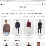 25% off Coats, Jackets, Knits, Sweaters & Pants Starting from $96 @ SABA