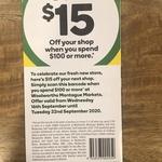 [QLD] $15 off $100 Spend @ Woolworths Montague Markets, West End, Brisbane