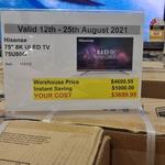 "[NSW] Hisense 75"" 8K ULED 75U80G Android TV $3699 @ Costco (Lidcombe)"