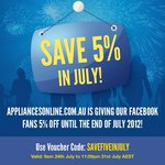 5% off at AppliancesOnline.com.au Only Til 31 July