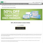 50% off Contact Lenses Online. $10 Shipping @ Specsavers