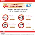 $10 off Your Click & Collect Order (Min. $50 Spend) at Coles Online + Other 20% Off Offers - Click Frenzy