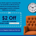 $2 off Weekend and Evening Parking at Secure Parking Secure-a-Spot Locations in Brisbane, Melbourne & Sydney