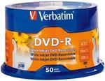 Verbatim DVD-R White Inkjet Printable - 50 Pack $19 @ Harvery Norman