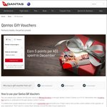 Earn 5 Qantas Frequent Flyer Points Per Dollar Spent on Qantas Gift Vouchers for The Month of December