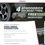 Purchase 4 BF Goodrich AT or MT 4X4 Tyres and Receive a Free BF Goodrich Branded Swag