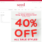 A Further 40% off Sale @ Seed Heritage (Women, Children, Baby); A Further 50% off Outlet; Free Shipping over $100