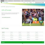 20% off NRL Tickets, $20 AFL Tickets to Selected Games for Members @ Telstra