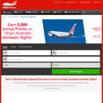 Earn 2,000 Bonus Velocity Frequent Flyer Points by Booking Virgin Australia Domestic Flights on Webjet