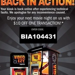 $10 off Video Ezy Kiosk Movie Rental Code