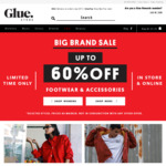 Now up to 60% off MORE Selected Styles + Free Delivery for Orders > $75 @ Glue Store