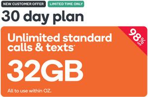 Kogan 32GB 30 Day Prepaid Mobile Voucher $0 98 @ Kogan