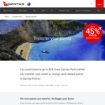Bonus 15% to 45% for Transferring Reward Points to Qantas Frequent Flyer