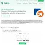 GeoTrust QuickSSL Premium Certificate $54.40/Yr for 2 Year Purchase @ ClickSSL