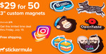 50 Custom Magnets for $40.50 (Normally $109) with Free Shipping @ StickerMule