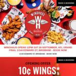 [QLD] $0.10 Chicken Wings (May Req. Drink Purchase) @ WingHAÜS Bar by Bavarian (Brisbane, Edward St)