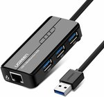 UGREEN 3 Ports USB 3.0 HUB with 1000Mbps Network Adapter $22.35 + Delivery ($0 with Prime/ $39 Spend) @ UGREEN Amazon AU