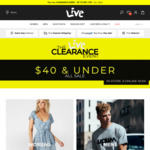 Live Clothing Final Clearance. $40 and under. Free Express Shipping over $50