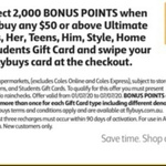Bonus 2000 flybuys Points (Worth $10) on Ultimate Gift Card $50 and Above @ Coles