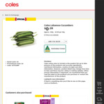 Coles Lebanese Cucumbers $0.28 ea (Approx 140g, $2.00 per 1Kg) @ Coles