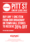 35% off GNC Broadway and Town Hall for Members