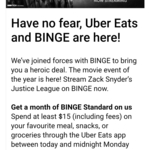 Spend $15 or More (Inclusive of Fees), Get 1 Month Binge for Free @ Uber Eats