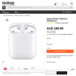 Apple AirPods (2nd Gen) with Charging Case $188.99 Delivered (Grey Import) @ Techinn ($179.54 Price Beat at Officeworks)