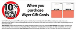 10% Bonus When Purchasing a Myer Gift Card @ Coles