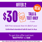 1 Year Unlimited Talk & Text Mobile Plan (with No Mobile Data) $30 for 1 Year ($60/Yr after) @ amaysim (Existing Customers)