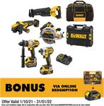 15% off Range of Power Tool Combo: Dewalt Flexvolt 5 Piece $1444, 18V 5 Piece $832 / Makita Brushed 18V 9 Piece $1027 @ Bunnings