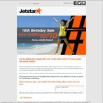 Jetstar 10th Birthday Sale: 10000 Seats from $10 - Starts 2pm to 6pm Today