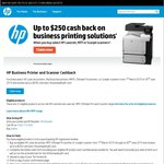 HP Business Printer & Scanner up to $250 Cash-Back in The Form of a Visa Gift Card