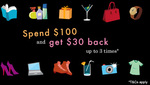 AmEx Statement Credit: Mid Year Offer at Various Merchants (Spend $100 Get $30) x3 [In-Store/On-Premise]